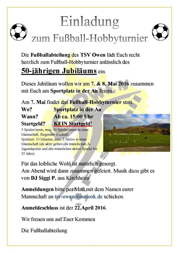 einladung zum fußball-hobbyturnier am 07.+08.05.2016, Einladung